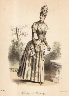 Весенний дамский туалет с пышной юбкой и приталенным жакетом. Из французского модного журнала Le Coquet, выпуск 241, 1888 год