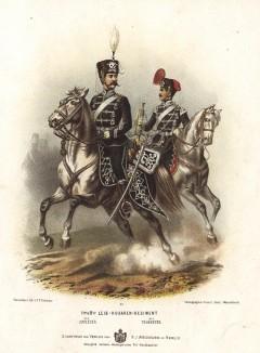Кавалеристы 1-го и 2-го лейб-гусарских полков прусской армии в униформе образца 1870-х гг. Preussens Heer. Берлин, 1876