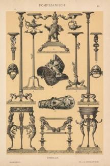 """Различные предметы древнеримского быта из Помпей (треножники, светильники, канделябры) (лист 10 альбома """"Сокровищница орнаментов..."""", изданного в Штутгарте в 1889 году)"""