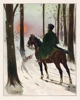 """В дозоре (конный егерь в зимней полевой форме) (иллюстрация к работе """"Императоская Гвардия в 1804--1815 гг."""" Париж. 1901 год. (экземпляр № 303 из 606 принадлежал голландскому генералу H. J. Sharp (1874 -- 1957))"""