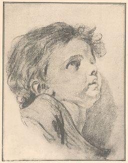 Мальчик, смотрящий вверх. Рисунок Жана-Батиста Грёза из собрания библиотеки Императорской Академии художеств.