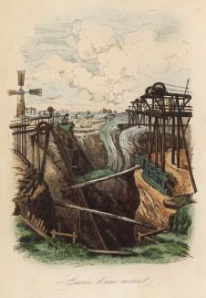 Вход в шахту (иллюстрация к работе Ахилла Конта Musée d'histoire naturelle, изданной в Париже в 1854 году)