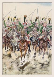 """1813 год. Атака Гвардии чести (3-й гвардейский кавалерийский полк). Илл. к работе """"Императорская гвардия в 1804-1815 гг."""" Париж, 1901. Экз. №303 из 606 принадлежал голландскому генералу H.J.Sharp (1874-1957)"""