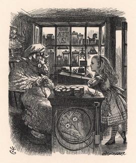 Она стояла в тёмной комнате, облокотившись о прилавок, а напротив, в кресле сидела старенькая Овца… (иллюстрация Джона Тенниела к книге Льюиса Кэрролла «Алиса в Зазеркалье», выпущенной в Лондоне в 1870 году)