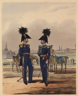 Генерал в повседневной форме одежды и адъютант короля Вюртемберга (полковник) в парадной форме (литография из Das Koniglich Wurttembergische Militair... Вюрцбург. 1840 год)