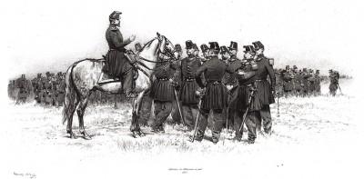 Офицеры французских егерей в полевой форме образца 1853 года (из Types et uniformes. L'armée françáise par Éduard Detaille. Париж. 1889 год)