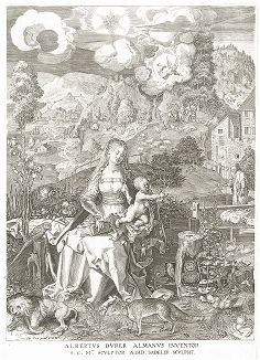Дева Мария с младенцем. Гравюра Эгидия Саделера по композиции Альбрехта Дюрера.
