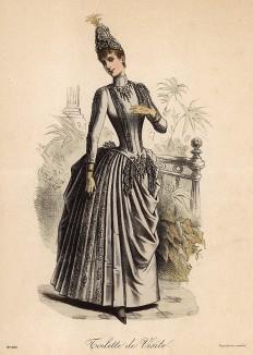 Роскошное серое платье для визитов с пышной юбкой. Из французского модного журнала Le Coquet, выпуск 238, 1888 год