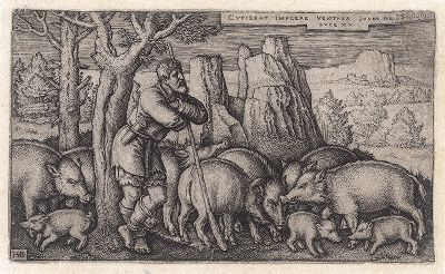 """Блудный сын, пасущий свиней. Гравюра Ганса Зебальда Бехама из сюиты """"Блудный сын"""", 1540 год."""