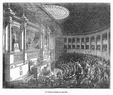 Живая дискуссия в Палате депутатов -- нижней палате французского парламента исторического периода Июльской монархии (The Illustrated London News №88 от 06/01/1844 г.)