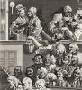 Веселая публика, 1733. Гравюра создана в качестве подписного талона на оплату девяти работ Хогарта: «Саутворкской ярмарки» и восьми из серии «Карьера мота». Изображены зрители, смотрящие комедию. Геттинген, 1854