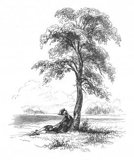 Кронпринц Фридрих, будущий Фридрих Великий, под одиноким деревом размышляет над прочитанным. Илл. Адольфа Менцеля. Geschichte Friedrichs des Grossen von Franz Kugler. Лейпциг, 1842, с.47