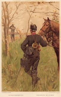 Горнист швейцарских драгун в дозоре (из альбома хромолитографий L' Armée Suisse... Цюрих. 1894 год)