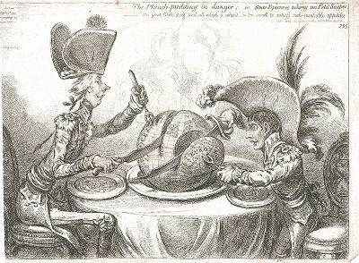 Пудинг в опасности, или государственные эпикурейцы принимаются за завтрак. Наполеон I и Уильям Питт делят земной шар. Карикатура Джеймса Гилрея, 1805 год.