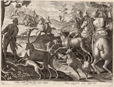 Быстрых оленей гоняют, изматывая собаками, по открытым пастбищам и потом поражают остриём железной стрелы (Venationes Ferarum, Avium, Piscium, лист 34)