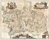 Карта графств Миддлсекс (поглощено Большим Лондоном в XIX в.) и Хартфордшир. Middelsexiae cum Hertfordiae comitatu Midlefex & Hertfordshire. В левом нижнем углу Вестминстер. Составил Ян Янсониус. Амстердам, 1646