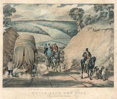Грузовая повозка и экипаж разъезжаются на новой дороге через Белый холм в Хай-Уикоме.