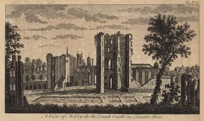 Замок Эшби-де-ла-Зуч (Зуш) в графстве Лестершир (из A New Display Of The Beauties Of England... Лондон. 1776 г. Том 2. Лист 68)
