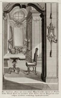 Альков в будуаре с изящным столиком, зеркалом и канделябром. Johann Jacob Schueblers Beylag zur Ersten Ausgab seines vorhabenden Wercks. Нюрнберг, 1730