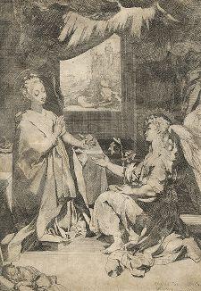 Благовещение. Самый знаменитый офорт Федерико Бароччи, ок. 1580 г.