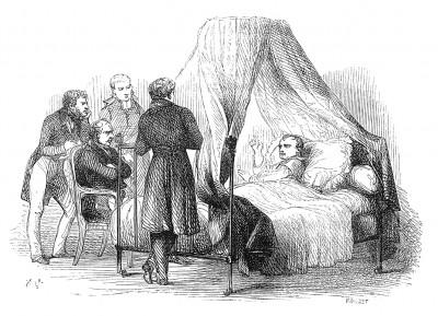 19 апреля 1921 г. тяжело больной Наполеон приглашает к себе немногочисленных друзей, живущих с ним на острове Святой Елены, и объявляет о предчувствии близкой кончины. Histoire de l'empereur Napoléon, Париж, 1840
