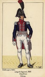 1810 г. Штаб-офицер гвардейского пехотного полка Великого герцогства Гессен в парадной форме. Коллекция Роберта фон Арнольди. Германия, 1911-29