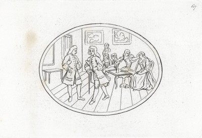 Виньетка с изображением сцены из спектакля «Похищение из-под замкà» (The rape of the lock) по одноименной поэме Александра Поупа. Гравюра Ринхаузена по рисунку Хогарта. Геттинген, 1854