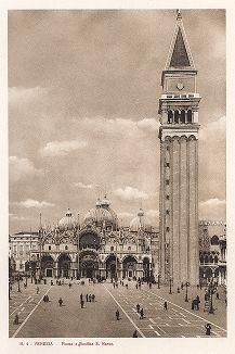Площадь, кампанила и собор Сан-Марко в Венеции. Ricordo Di Venezia, 1913 год.