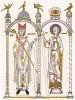 Святой Герман, епископ Парижский; Викентий Сарагосский -- святой покровитель Валенсии, Лиссабона и виноделов (из Les arts somptuaires... Париж. 1858 год)