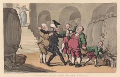 """Доктор Синтакс опустошает винный подвал. Иллюстрация Томаса Роуландсона к поэме Вильяма Комби """"Путешествие доктора Синтакса в поисках живописного"""", л.14. Лондон, 1881"""