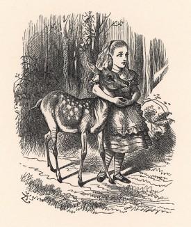И они вместе пошли через лес (иллюстрация Джона Тенниела к книге Льюиса Кэрролла «Алиса в Зазеркалье», выпущенной в Лондоне в 1870 году)