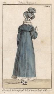 Шляпка из бархата, украшенная страусиными перьями, и пальто, также из бархата, отороченное горностаевым мехом. Из первого французского журнала мод эпохи ампир Journal des dames et des modes, Париж, 1813. Модель № 1281