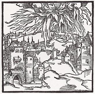 """Разрушение Содома и Гоморры (иллюстрация к книге """"Рыцарь Башни"""", гравированная Дюрером в 1493 году)"""