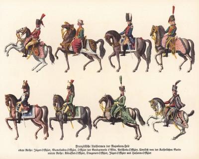 Французская кавалерия эпохи Наполеона: конный егерь, мамелюк, конный гренадер, драгуны и гусары. Из популярной в нацистской Германии работы Мартина Лезиуса Das Ehrenkleid des Soldaten. Берлин, 1936