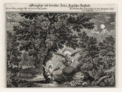 Иисус в Гефсиманском саду. Моление о чаше (из Biblisches Engel- und Kunstwerk -- шедевра германского барокко. Гравировал неподражаемый Иоганн Ульрих Краусс в Аугсбурге в 1694 году)