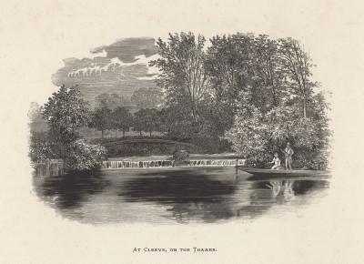 """Рыбалка в местечке Клив на Темзе (иллюстрация к работе """"Пресноводные рыбы Британии"""", изданной в Лондоне в 1879 году)"""