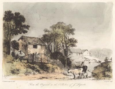 Коровы в деревне. Гравюра с рисунка знаменитого английского пейзажиста Томаса Гейнсборо из коллекции  Дж. Лапорта. A Collection of Prints ...of Tho. Gainsborough, Лондон, 1819.