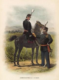 Офицер и солдат голландской армии во время учений (иллюстрация к работе Onze krijgsmacht met bijshriften... (голл.), изданной в Гааге в 1886 году)