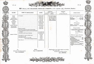 Послужной список маршала Нея. Galerie des Marechaux de France par Ch. Gavard, Париж, 1839 год.