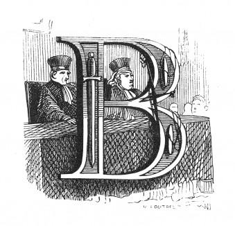 Инициал (буквица) B, предваряющий сорок четвертую главу «Истории императора Наполеона» Лорана де л'Ардеша о продолжении кампании 1813 года. Париж, 1840