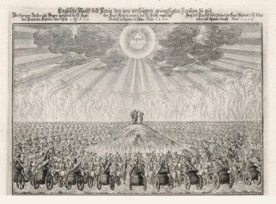 Бой Асаила и Авенира (из Biblisches Engel- und Kunstwerk -- шедевра германского барокко. Гравировал неподражаемый Иоганн Ульрих Краусс в Аугсбурге в 1694 году)