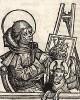"""Евангелист Лука. Ксилография Михаэля Вольгемута из знаменитой первопечатной книги Хартмана Шеделя """"Всемирная хроника"""", также известной как """"Нюрнбергские хроники"""". Die Schedelsche Weltchronik (Liber Chronicarum). Нюрнберг, 1493"""