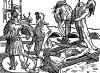 Казнь в Калькутте. Иллюстрация Йорга Бреу Старшего к описанию путешествия на восток Лодовико ди Вартема: Ludovico Vartoman / Die Ritterliche Reise. Издал Johann Miller, Аугсбург, 1515