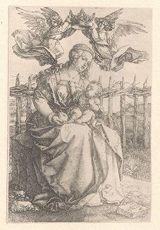 Мадонна, коронуемая двумя ангелами. Гравюра Альбрехта Дюрера, выполненная в 1518 году (Репринт 1928 года. Лейпциг)