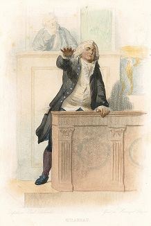 Оноре Габриэль Рикетти де Мирабо (1749-1791) - знаменитый оратор и деятель Великой Французской революции. Лист из серии Le Plutarque francais..., Париж, 1844-47 гг.