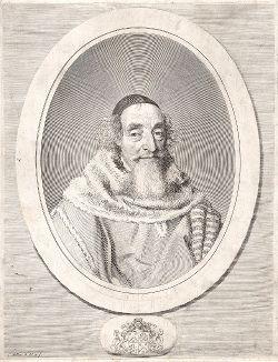 Матье Моле (1584--1656) - генеральный прокурор, первый президент Парламента и главный противник кардинала Мазарини. Гравюра Клода Меллана, 1656 год.