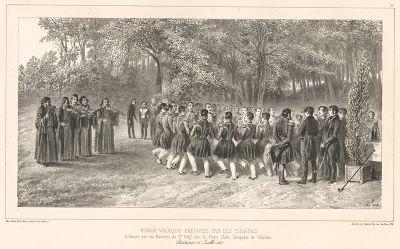 Офицеры 2-го пехотного полка принца Гики Господаря Валахии танцуют рондо 16 июля 1837 года (из Voyage dans la Russie Méridionale et la Crimée... Париж. 1848 год (лист 18))