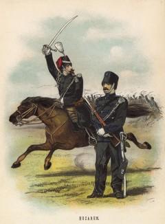 Гусары 1-го и 2-го кавалерийских полков армии Голландии (иллюстрация к работе Onze krijgsmacht met bijshriften... (голл.), изданной в Гааге в 1886 году)