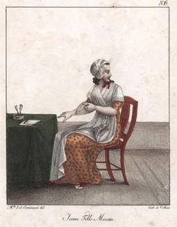 Девушка из Моравии. Редкая литография из Recueil de lithographies, л.6. Париж, 1821