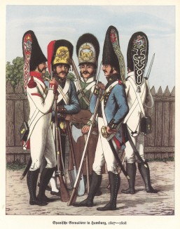 Испанские гренадеры в Гамбурге в 1808 году (из популярной в нацистской Германии работы Мартина Лезиуса Das Ehrenkleid des Soldaten... Берлин. 1936 год)